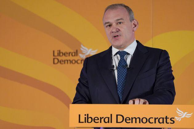 Lib Dem leader Sir Ed Davey gives his keynote address at One Canada Square in east London for the party's annual conference (Photo: Ian West - PA Images via Getty Images)