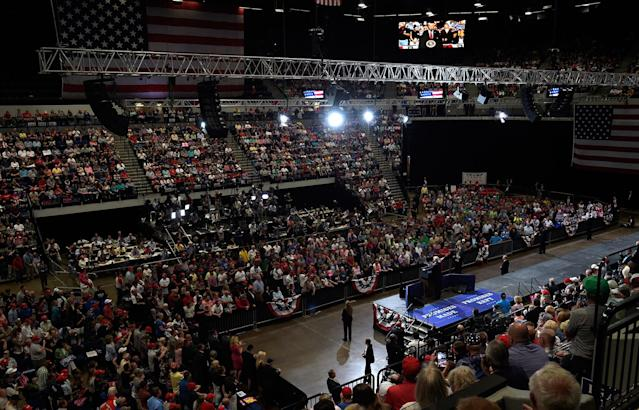 <p>President Donald Trump speaks at the U.S. Cellular Center in Cedar Rapids, Iowa, Wednesday, June 21, 2017. This is Trump's first visit to Iowa since the election. (Photo: Susan Walsh/AP) </p>