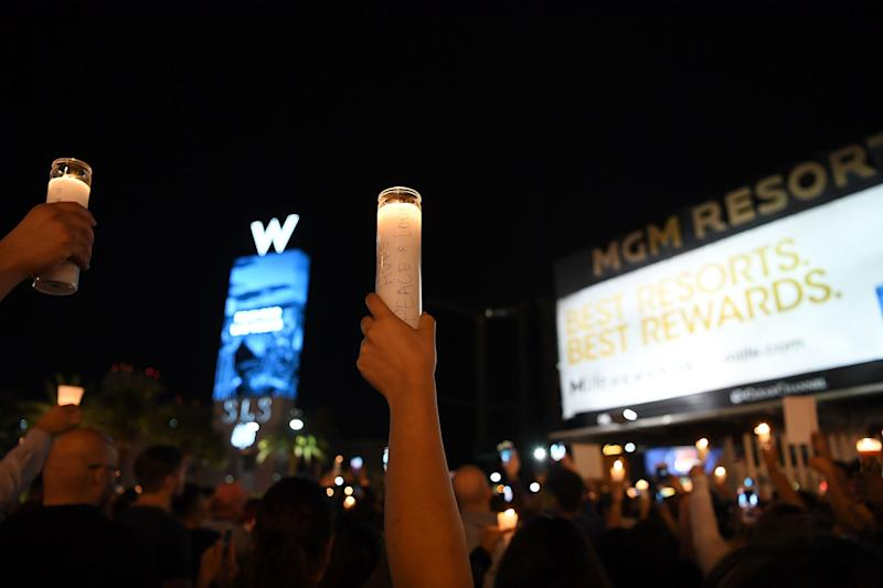 A vigil on the Las Vegas Strip for the victims of the Route 91 Harvest country music festival shootings.