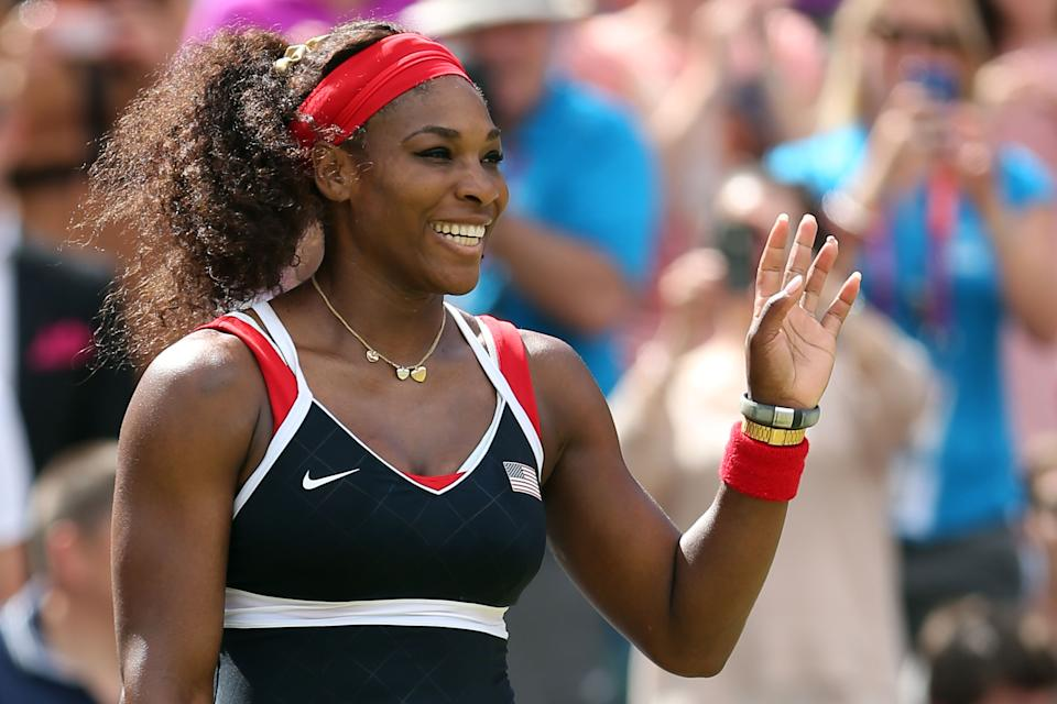<b>Serena Williams</b><br> Four-time Olympic gold medalist Serena Williams has multiple superstitions she sticks with before every match. Her quirks include bringing her shower sandals to the court, tying her shoelaces in a specific way and bouncing the ball five times before her first serve and twice before her second. (Photo by Clive Brunskill/Getty Images)