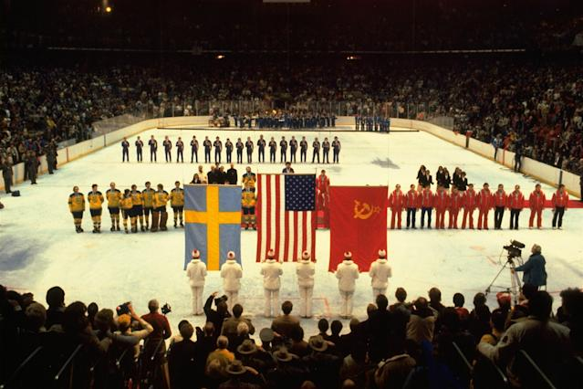 <p>The United States took the ice as the ultimate victors, flanked by the Soviet Union and Sweden, the silver and bronze medalists respectively. That was the last time the Star Spangled Banner was played during the medal ceremony for a men's Olympic hockey tournament. </p>