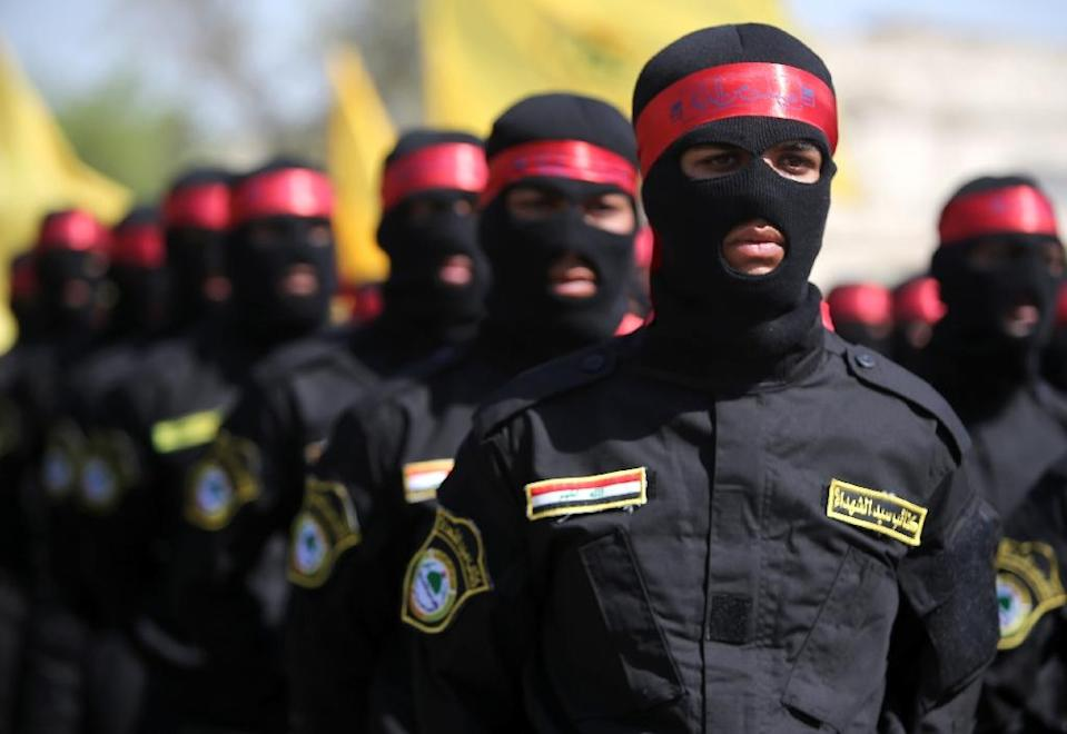 Iraqi members of the Popular Mobilisation units take part in a demonstration marking Quds (Jerusalem) International day in Baghdad on July 10, 2015 (AFP Photo/Ahmad al-Rubaye)