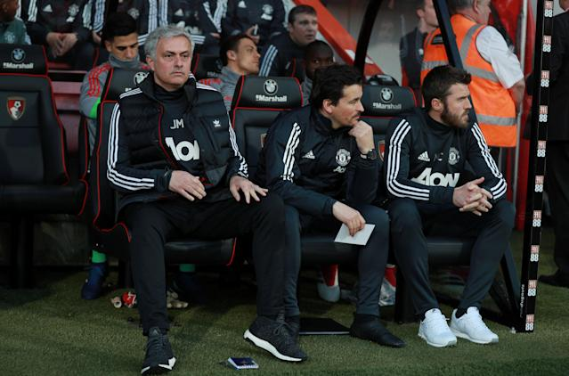 """Soccer Football - Premier League - AFC Bournemouth vs Manchester United - Vitality Stadium, Bournemouth, Britain - April 18, 2018 Manchester United manager Jose Mourinho, assistant manager Rui Faria and Michael Carrick before the match REUTERS/Ian Walton EDITORIAL USE ONLY. No use with unauthorized audio, video, data, fixture lists, club/league logos or """"live"""" services. Online in-match use limited to 75 images, no video emulation. No use in betting, games or single club/league/player publications. Please contact your account representative for further details."""