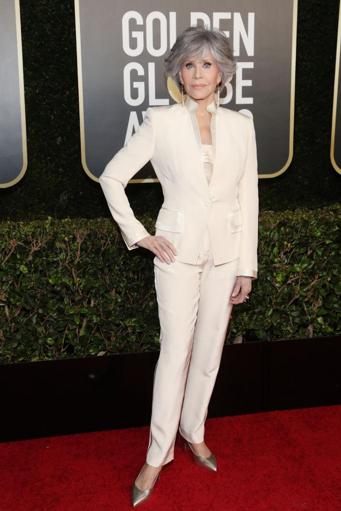 Jane Fonda is embracing the ageing process, pictured at the Golden Globe Awards in February 2021. (Getty Images)