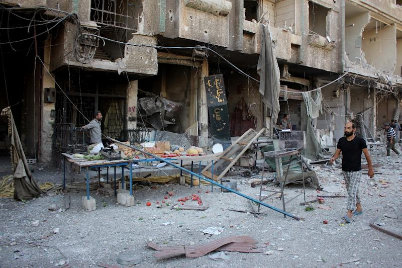 Debris in Ain Tarma in Eastern Ghouta on August 31, 2015 following reported Syrian government forces air strikes on a market (AFP Photo/Mohammed Eyad)