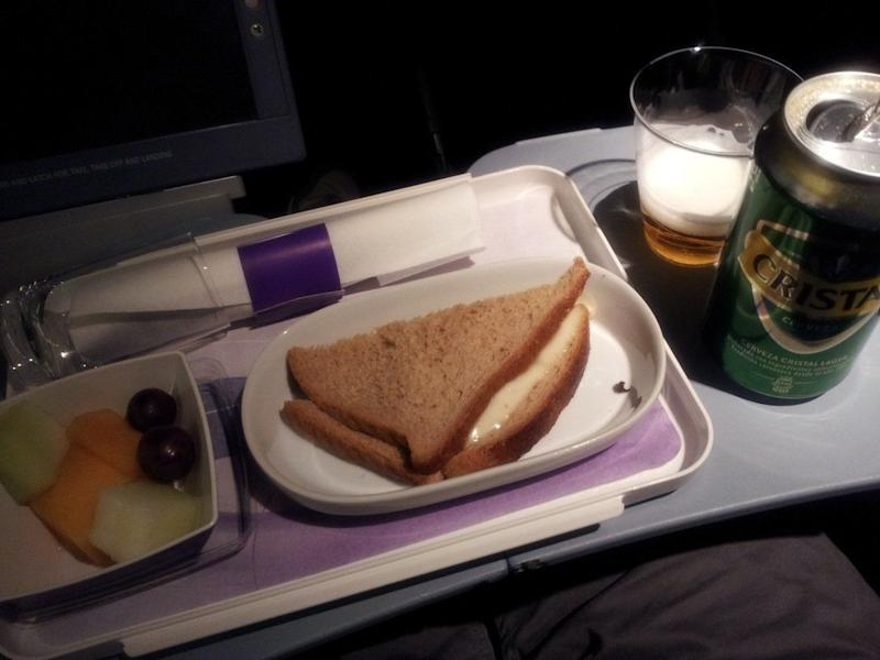 Later I was watching another movie because why not and they came around with a hot snack and more drinks. (All free for the price of an economy seat!)