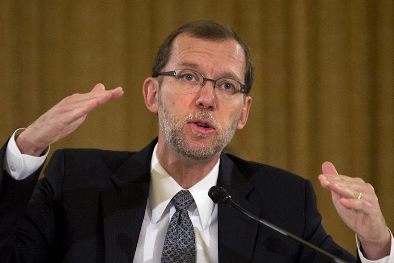 Congressional Budget Director Doug Elmendorf talks about the economic outlook while testifying on Capitol Hill in Washington, Wednesday, Nov. 13, 2013, before the Congressional Budget Conference. (AP Photo/Jacquelyn Martin)