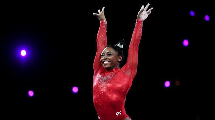 Simone Biles competes on Day 9 of the FIG Artistic Gymnastics World Championships on October 12, 2019, in Stuttgart, Germany.
