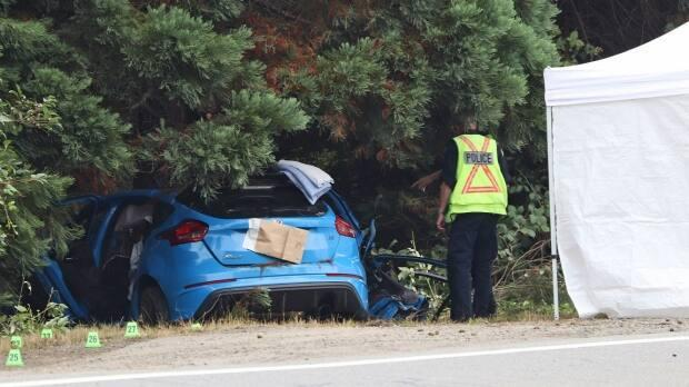 Surrey RCMP are investigating a single-vehicle crash near 104th Avenue and Highway 1 early Saturday morning that left three teenagers dead. (Shane MacKichan for CBC News - image credit)