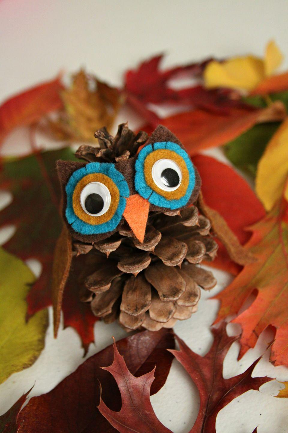 """<p>This craft is a hoot! Kids love gathering pine cones, so give them a way to turn their collection into a wise, old owl.</p><p><em><a href=""""http://www.whimsy-love.com/2013/10/diy-pinecone-owl-hedgehog.html"""" rel=""""nofollow noopener"""" target=""""_blank"""" data-ylk=""""slk:Get the tutorial at Whimsy Love »"""" class=""""link rapid-noclick-resp"""">Get the tutorial at Whimsy Love »</a> </em></p>"""