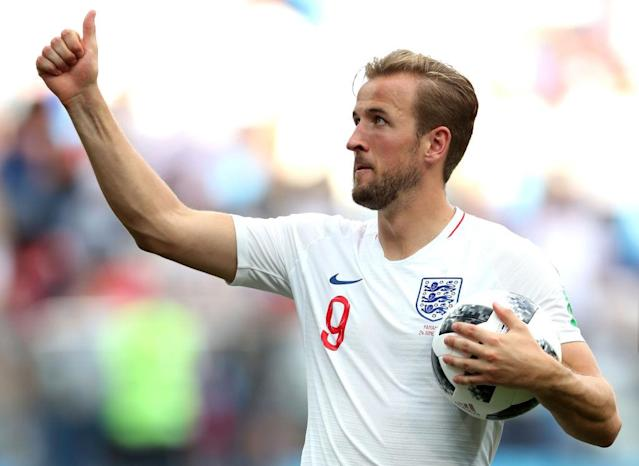 <p>Harry Kane takes the match ball home with him after scoring England's first World Cup hat-trick since Gary Lineker 32 years ago. </p>