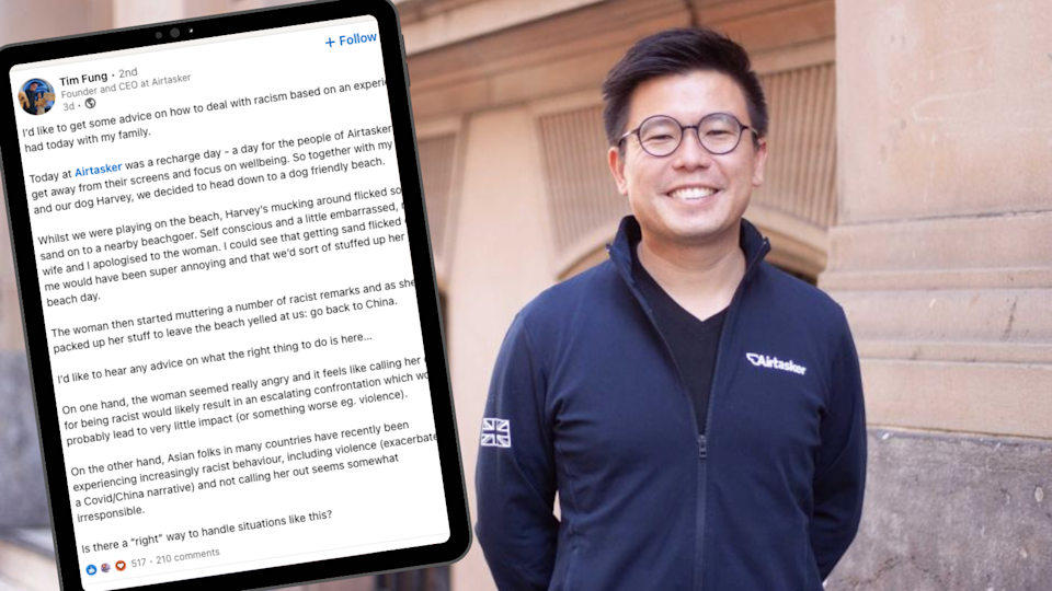 Airtasker CEO Tim Fung details his recent experience of racism. (Source: ABC, LinkedIn/Yahoo Finance screenshot)