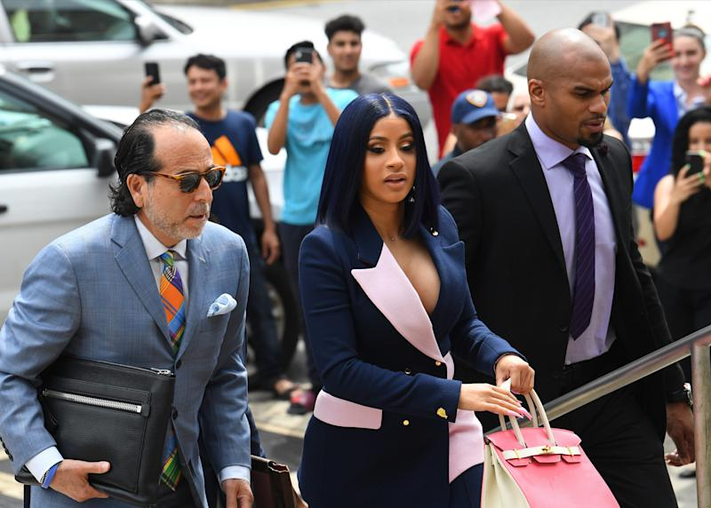 Grammy-winning rapper Cardi B arrives for arraignment at Queens Supreme Court on June 25, 2019. She is charged with felony attempted assault and various lesser charges in connection with a fight last year at a Queens strip club.