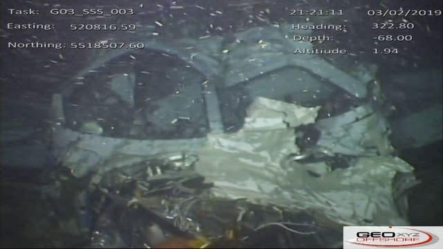 Still from handout video issued by the Air Accidents Investigation Branch of the windscreen and cockpit area of the wreckage of the plane which crashed into the Channel on January 21, 2019, killing footballer Emiliano Sala (AAIB)