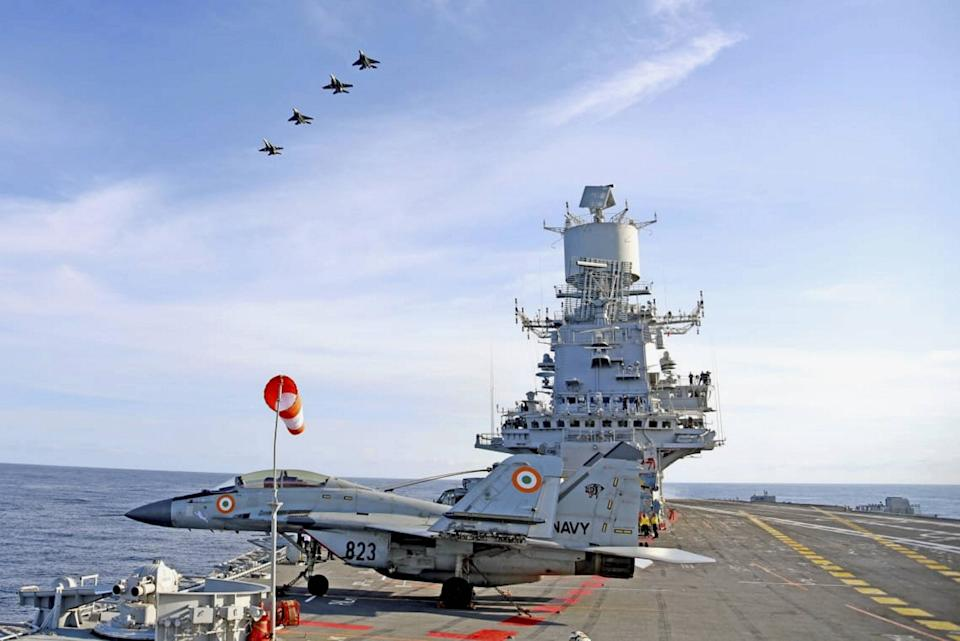 Advance air operations with MiG 29Ks from Vikramaditya of Indian Navy with navies of Australia, Japan and the US in the Arabian Sea as part of phase two of Malabar Exercise 2020.