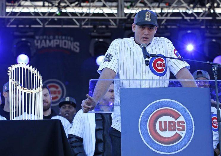 Anthony Rizzo speaks during the Cubs World Series celebration. (AP)