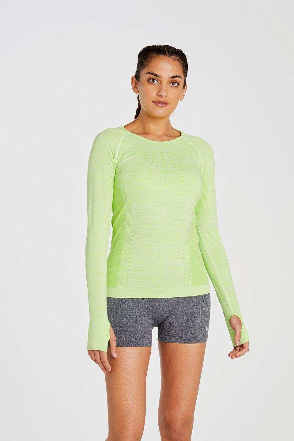 """<p><strong>Eleven by Venus Williams</strong></p><p>elevenbyvenuswilliams.com</p><p><strong>$27.97</strong></p><p><a href=""""https://elevenbyvenuswilliams.com/collections/tennis/products/absolute-long-sleeve-in-sharp-green"""" rel=""""nofollow noopener"""" target=""""_blank"""" data-ylk=""""slk:Shop Now"""" class=""""link rapid-noclick-resp"""">Shop Now</a></p><p>Founded by multi-time Grand Slam singles champion Venus Williams, Eleven fitness pieces are built to optimize performance in comfortable, multifunctional fabrics. Loomed in four-way stretch fabric with liquid-ousting technology, this featherlight lime green top suits heavy cardio activities and social-distancing walks alike. </p>"""