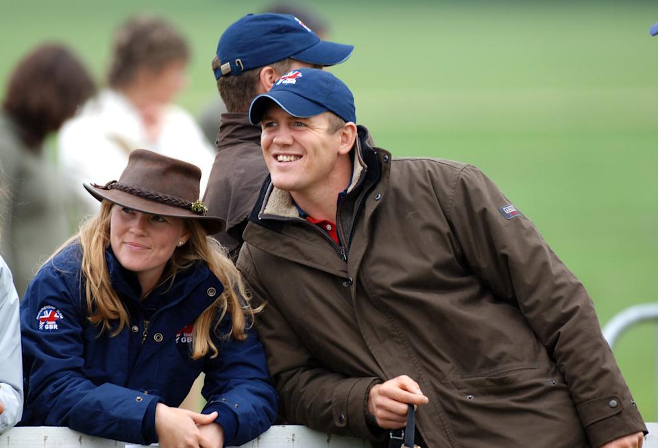 WOODSTOCK, ENGLAND - SEPTEMBER 11:  Zara Phillips is watched by Autumn Kelly, girlfriend of Peter Phillips, and boyfiend Mike Tindall as she completes the final show-jumping event with a clear round to become  European Champion at The Blenheim Petplan European Eventing Championships held at Blenheim Palace on September 11, 2005 in Woodstock, England.  (Photo by Anwar Hussein/Getty Images)