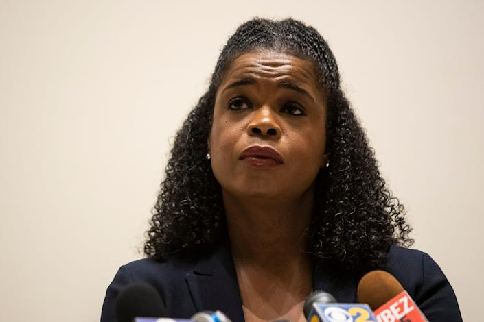 Cook County State's Attorney Kim Foxx speaks during a news conference after looting broke out overnight in the Loop and surrounding neighborhoods in Chicago, Monday, Aug. 10, 2020.