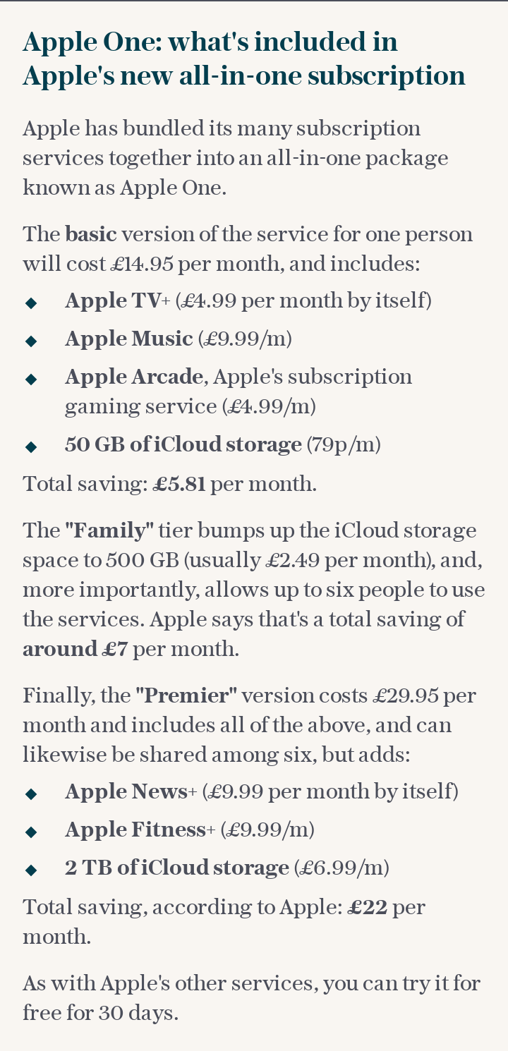 Apple One: Apple's new all-in-one subscription