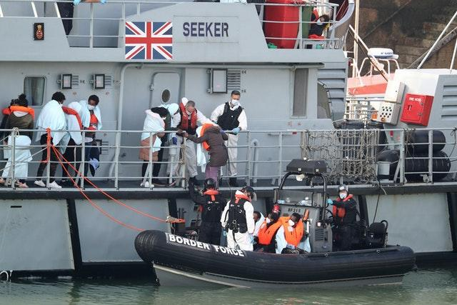Migrants arriving in Dover