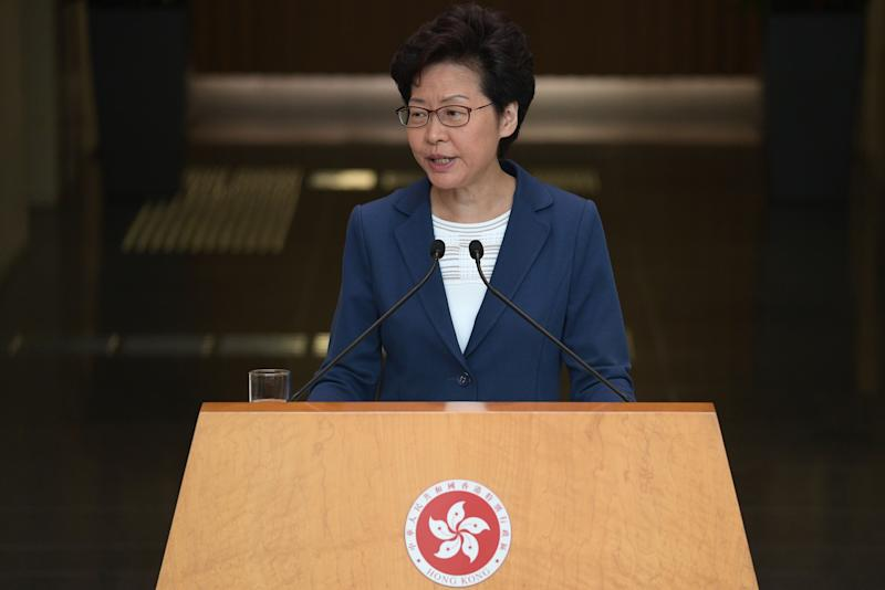 Hong Kong Chief Executive Carrie Lam takes part in her weekly press conference in Hong Kong on October 8, 2019. - Semi-autonomous Hong Kong has been battered by four months of increasingly violent pro-democracy protests sparked by opposition to a now-scrapped bill allowing extraditions to China. (Photo by Nicolas ASFOURI / AFP) (Photo by NICOLAS ASFOURI/AFP via Getty Images)