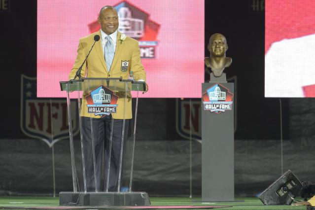 CANTON, OH - AUGUST 2: Former NFL cornerback/safety Aeneas Williams gives his speah during the NFL Class of 2014 Pro Football Hall of Fame Enshrinement Ceremony at Fawcett Stadium on August 2, 2014 in Canton, Ohio. (Photo by Jason Miller/Getty Images)