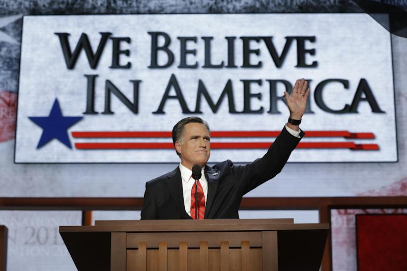 "FILE - In this Aug. 30, 2012, file photo Republican presidential nominee Mitt Romney addresses the Republican National Convention in Tampa, Fla. When Romney stood up to accept the Republican nomination for the presidency, the theme of the night was on the giant screen behind him: ""We Believe In America."" The sentiment is on the side of his campaign plane, too. The suggestion is that the other party, led by President Barack Obama, does not believe in America, chiefly Obama. (AP Photo/Charles Dharapak, File)"
