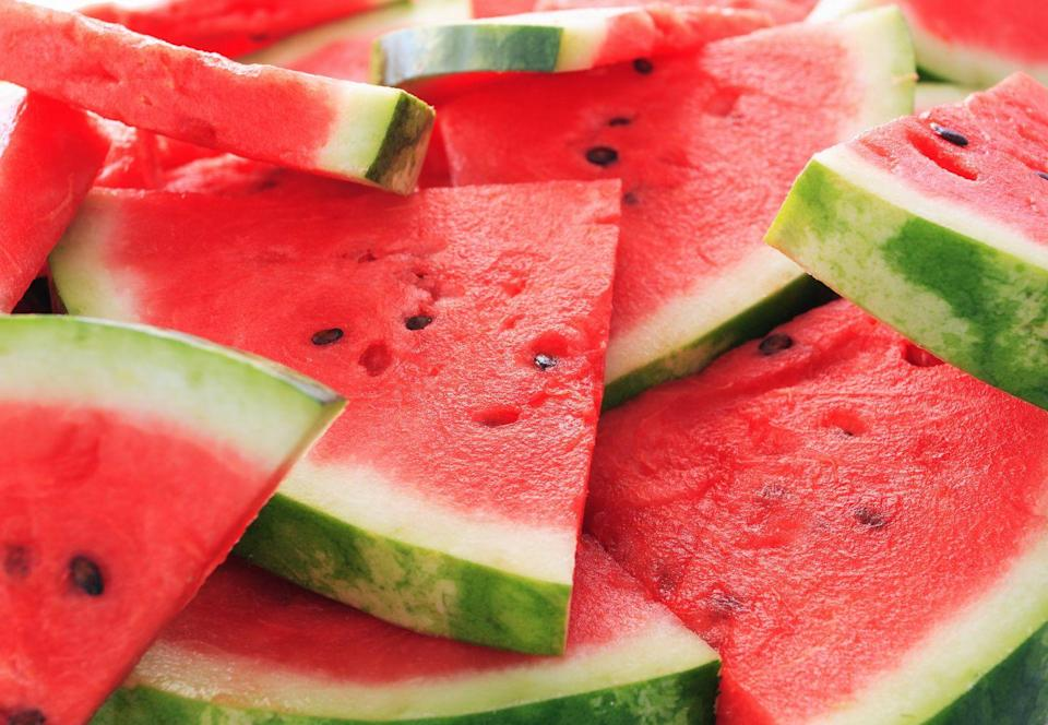 "<p><a href=""https://www.goodhousekeeping.com/food-recipes/a27198230/how-to-cut-a-watermelon/"" rel=""nofollow noopener"" target=""_blank"" data-ylk=""slk:Watermelon"" class=""link rapid-noclick-resp"">Watermelon</a> is 92% water, making it a great choice for <a href=""https://www.goodhousekeeping.com/health/diet-nutrition/a46956/how-much-water-should-i-drink/"" rel=""nofollow noopener"" target=""_blank"" data-ylk=""slk:hydration"" class=""link rapid-noclick-resp"">hydration</a>. Your food provides about 20% of your fluid intake, and eating water-packed snacks like watermelon can help you avoid subtle, headache-spurring dehydration. Because fruit is high in water, potassium, and magnesium, it helps to offset excess <a href=""https://www.goodhousekeeping.com/health/diet-nutrition/a46956/how-much-water-should-i-drink/"" rel=""nofollow noopener"" target=""_blank"" data-ylk=""slk:sodium"" class=""link rapid-noclick-resp"">sodium</a> in your diet, too. Try it in a salad with feta and mint—or grill it for a summery dessert!</p>"