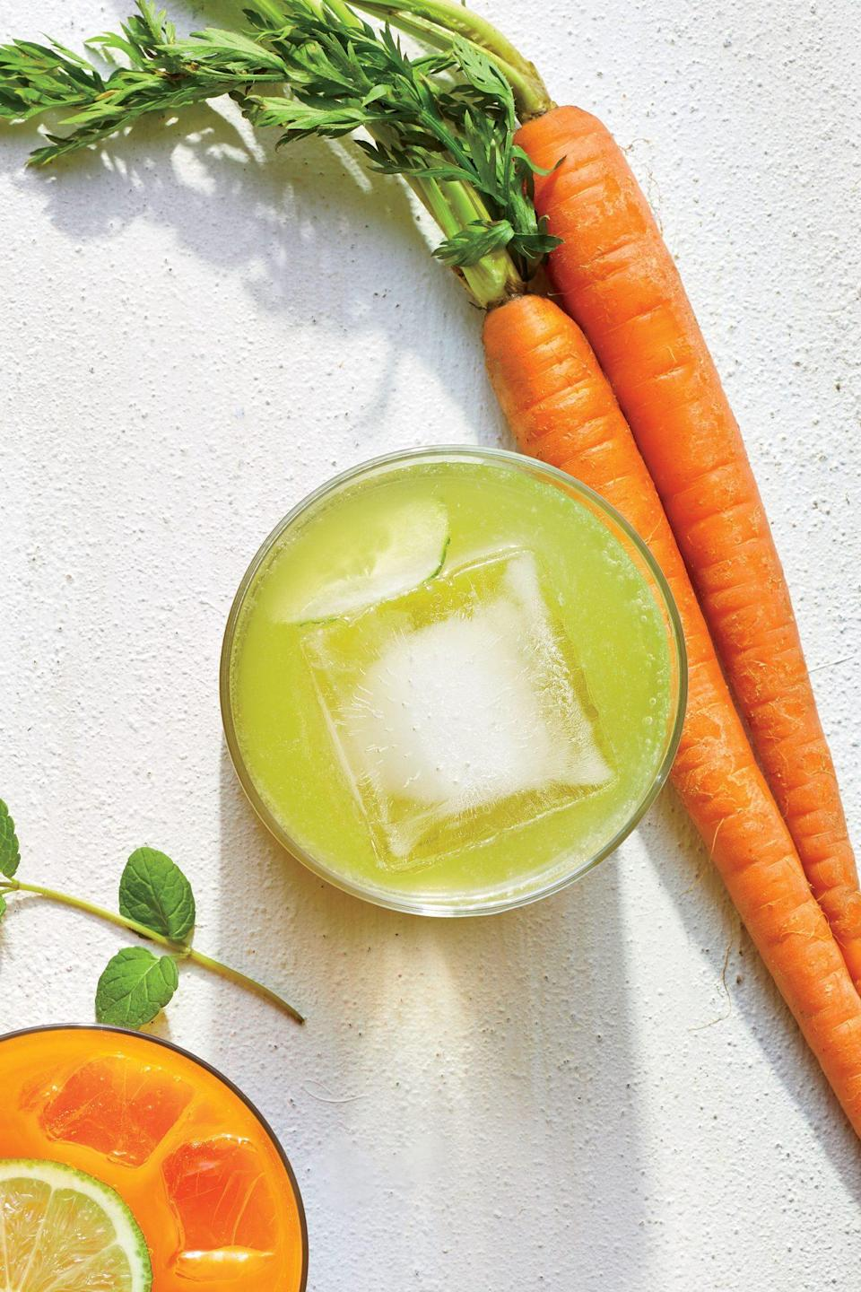 """<p>Muddle cucumber slices with mint and <a href=""""https://www.myrecipes.com/how-to/how-to-grow-lemongrass"""" rel=""""nofollow noopener"""" target=""""_blank"""" data-ylk=""""slk:lemongrass"""" class=""""link rapid-noclick-resp"""">lemongrass</a> in this garden-fresh, Thai-inspired Collins update. The result is cool as a…well, you know. </p>"""