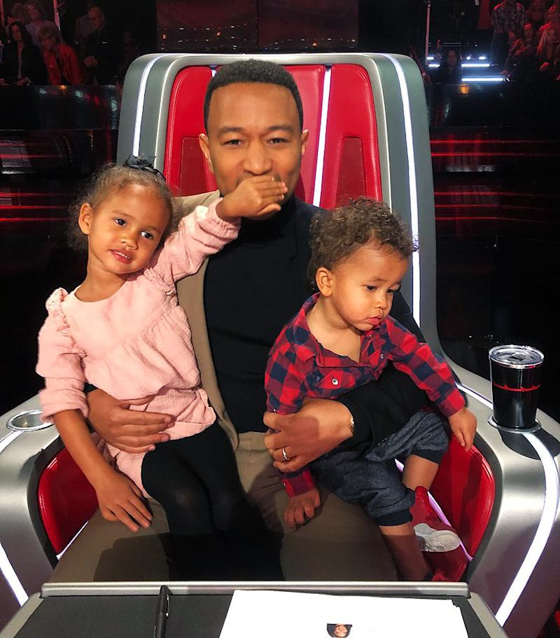 John Legend with his daughter, Luna, and son Miles | Chrissy Teigen/Twitter