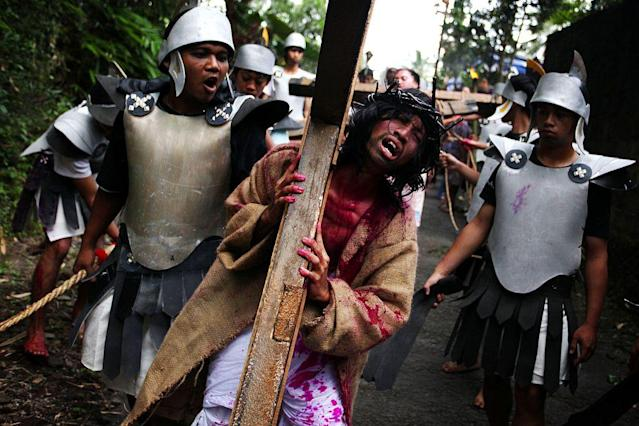 Indonesian Catholics participate in a re-enactment of the crucifixion of Jesus Christ on Good Friday 2010 in Yogyakarta, Indonesia. At the last count in 2000 Catholics make up just over three percent of the population of the predominantly Muslim country of approximately 6.5 million people.