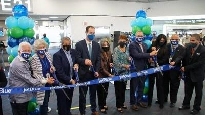Jet Blue and Miami-Dade County officials host a ribbon-cutting ceremony