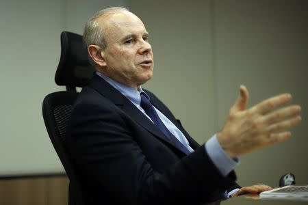 Brazil's Finance Minister Guido Mantega speaks during an interview with Reuters in Brasilia