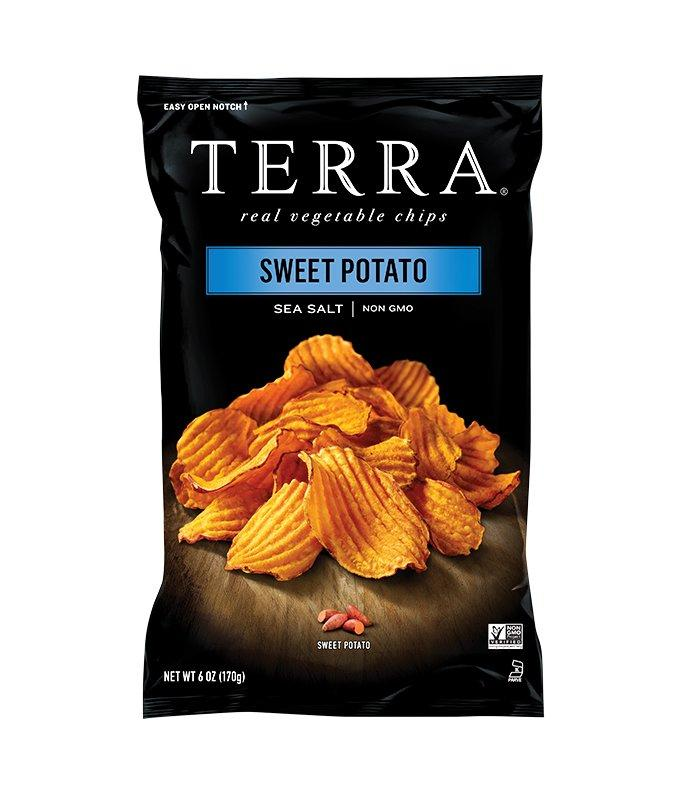 """<p>Made with just three ingredients (sweet potatoes, vegetable oil, and sea salt), these chips have an ideal balance of sweet and salty. The thick-cut ripples give them a sturdy crunch, so serve them with your favorite dip or alongside a bowl of chili.</p> <p><strong>To buy:</strong> $3; <a href=""""https://www.amazon.com/TERRA-Sweet-Potato-Chips-Salt/dp/B012W377OE/ref=as_li_ss_tl?ie=UTF8&linkCode=ll1&tag=rsfoodfallflavors1119rtfmhonkus1019-20&linkId=55c58347d5a4c79df5053dfd0a25e373&language=en_US"""" target=""""_blank"""">amazon.com</a>.</p>"""