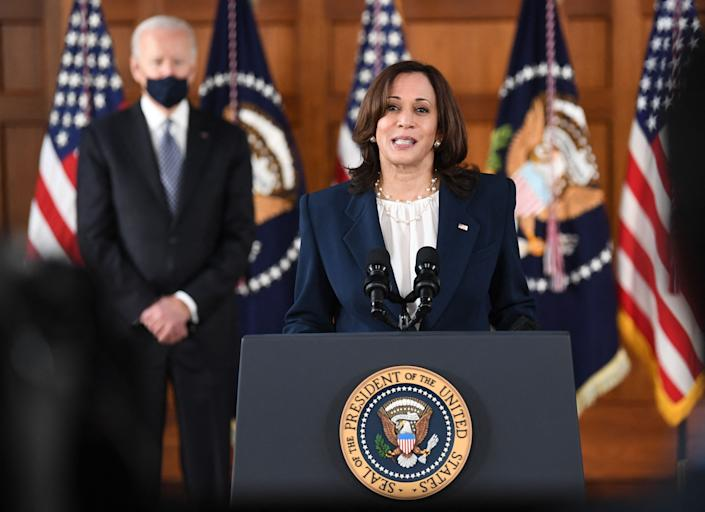 Vice Kamala Harris speaks as President Biden looks on during a meeting  with Asian American and Pacific Islander community leaders in Atlanta on March 19. (Eric Baradat/AFP via Getty Images)