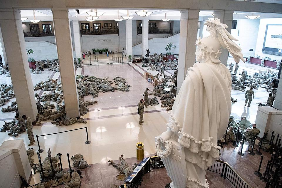 <p>As a result, there have been photos of the National Guard members getting rest on the marble floors of the Capitol. </p>