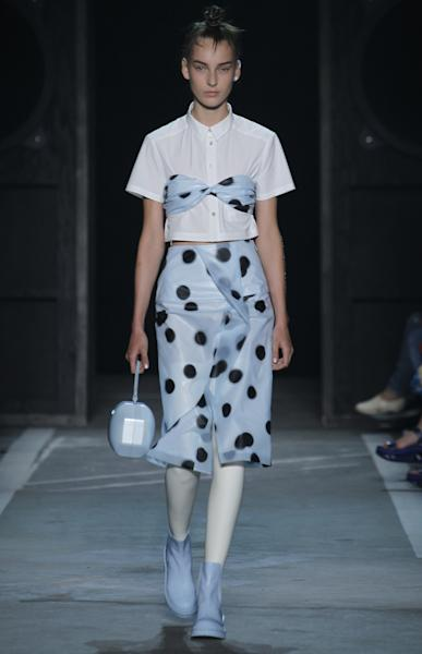 Polka dots were found throughout the Marc by Marc Jacobs SS15 collection.