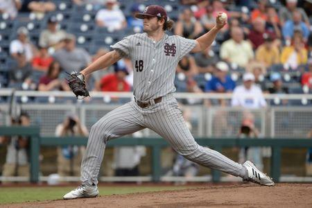 Jun 19, 2018; Omaha, NE, USA; Mississippi State Bulldogs starting pitcher Konnor Pilkington (48) pitches against the North Carolina Tar Heels in the first inning in the College World Series at TD Ameritrade Park. Mandatory Credit: Steven Branscombe-USA TODAY Sports