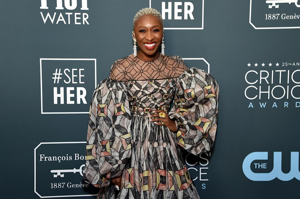 Cynthia Erivo attends the 25th annual Critics' Choice Awards at Barker Hangar on January 12, 2020. (Photo by Michael Kovac/Getty Images for Champagne Collet)