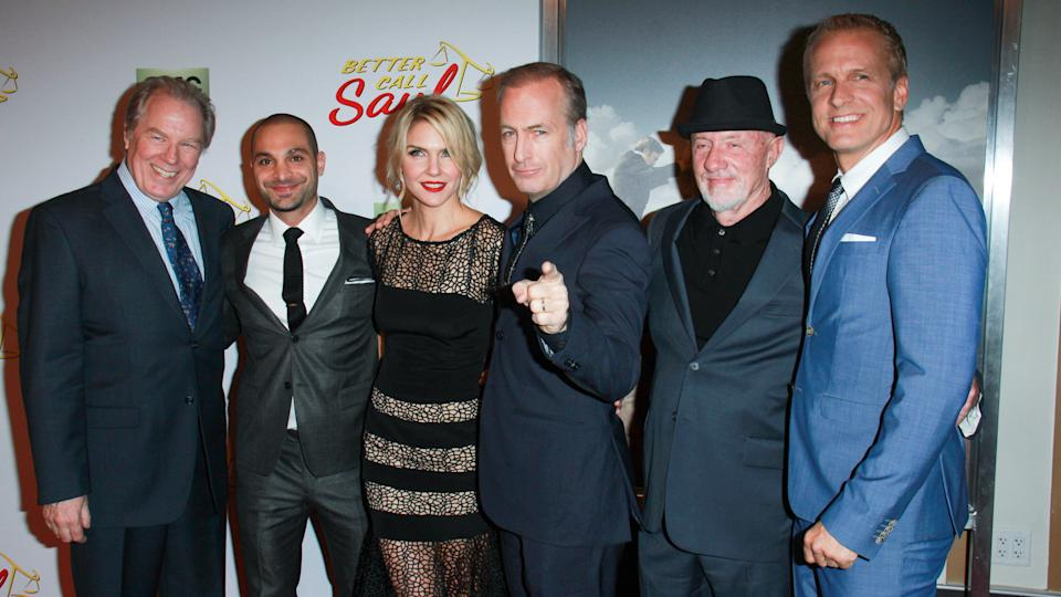 "LOS ANGELES - JAN 29: M McKeon, Michael Mando, Rhea Seehorn, Bob Odenkirk, Jonathan Banks, Patrick Fabian at the ""Better Call Saul"" Series Premiere at Regal Theater on Jan 29, 2015 in Los Angeles, CA."