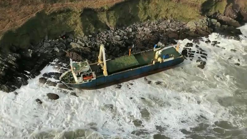 Undated image released Monday Feb. 17, 2020, by Irish Coast Guard showing the abandoned cargo ship MV Alta, that has washed up on the coast of County Cork, near Ballycotton, southern Ireland.