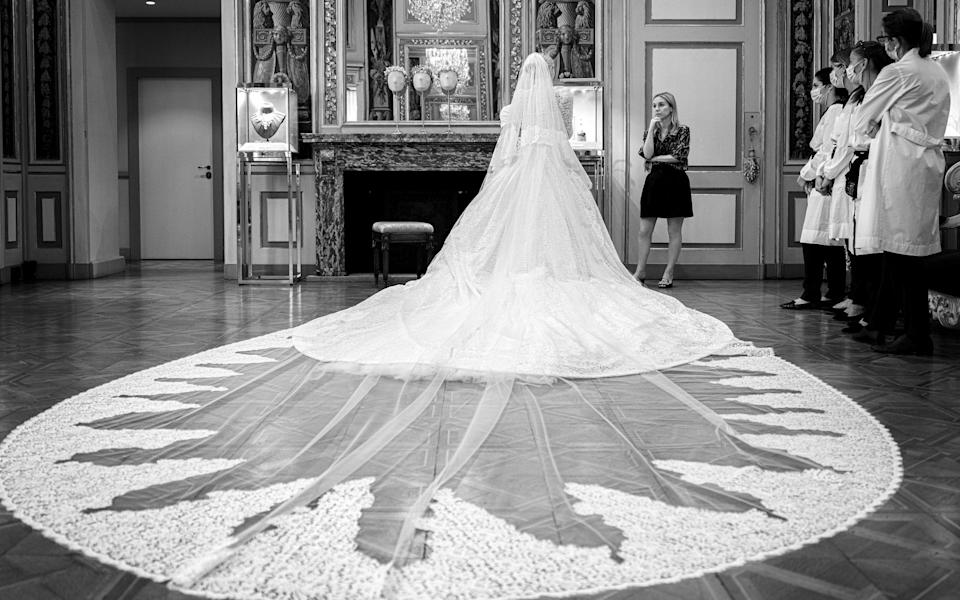 A view of Lady Kitty Spencer's veil - Dolce and Gabbana