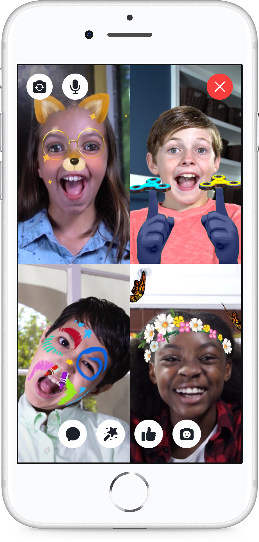 The Messenger Kids app lets users send text-based messages, video chat, tack on virtual stickers and masks, but has stricter rules and parental controls in place. Source: Facebook