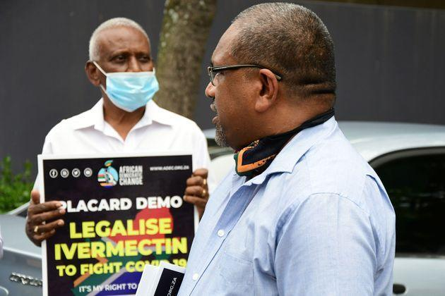 President of the African Democratic Change Party, Visvin Reddy (R) during the Legalise Ivermectin to fight Covid-19 demonstration on January 11, 2021 in Durban, South Africa (Photo: Gallo Images via Getty Images)