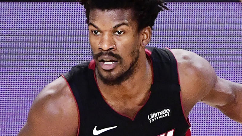 Jimmy Butler is pictured playing for the Miami Heat in game three of the NBA Finals.