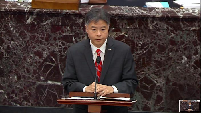 House impeachment manager Rep. Ted Lieu, D-Calif., speaks during the second impeachment trial of former President Donald Trump in the Senate.