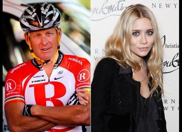 "In 2007, then 21-year-old Olsen was spotted<a href=""http://www.huffingtonpost.com/2007/10/31/lance-armstrong-and-ashle_n_70525.html"" rel=""nofollow noopener"" target=""_blank"" data-ylk=""slk:making out with Armstrong"" class=""link rapid-noclick-resp""> making out with Armstrong</a>, 15 years her senior, at Rose Bar in New York. Yeah, we don't really get it either."