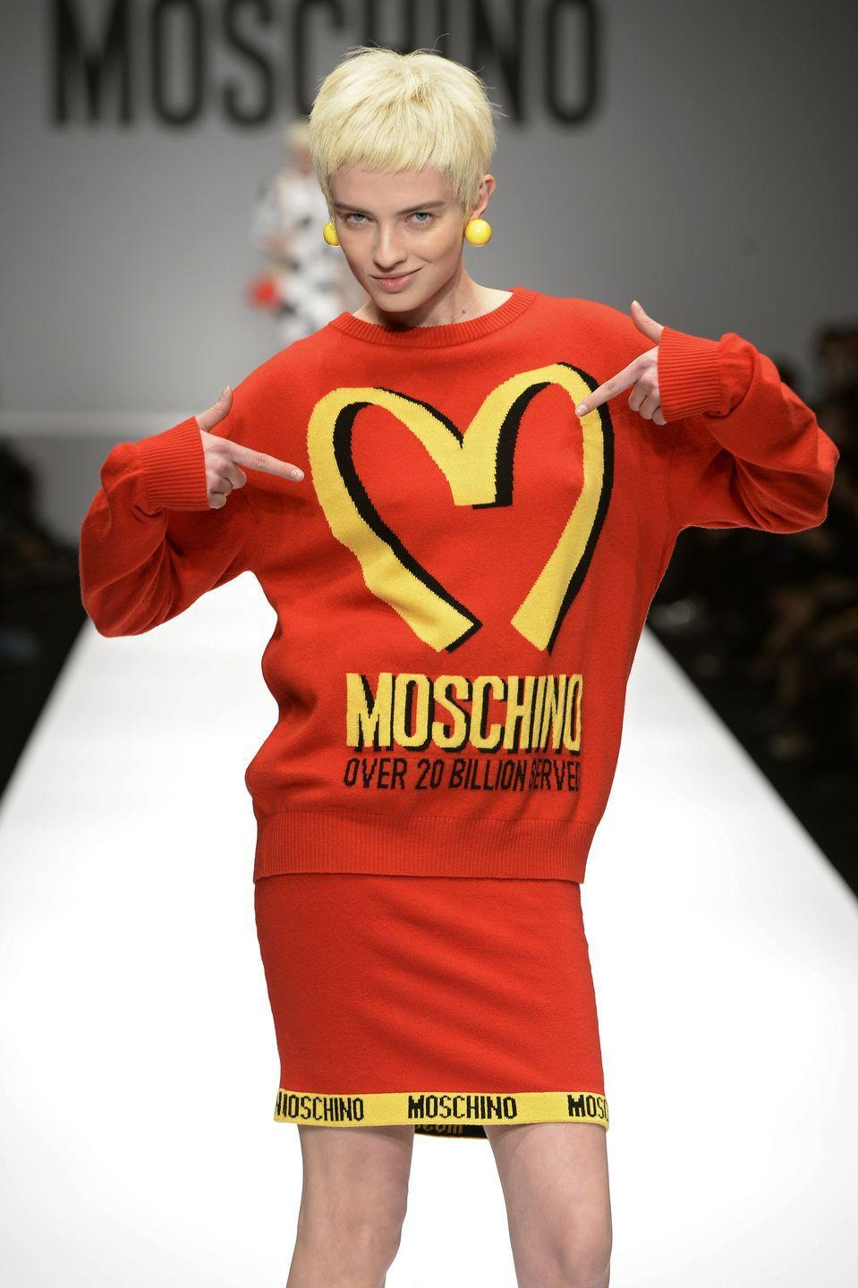 <p>Designer Jeremy Scott sent McDonald's-inspired looks down the runway for Italian fashion brand Moschino in 2014. Within two weeks, a number of products (including this sweater) had already sold out.</p>