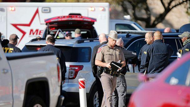 PHOTO: Authorities work the scene after a shooting took place during services at West Freeway Church of Christ, Dec. 29, 2019, in White Settlement, Texas. (Stewart F. House/Getty Images)